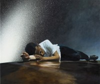 Martin Schnur, Airportsleep, 2012, Oil on canvas, 100x120 cm